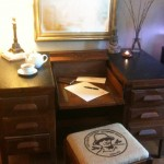 danielle hatfield's DIY coffee bean bag sewing bench