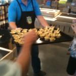 Sampling fresh Pineapple Mango Salsa