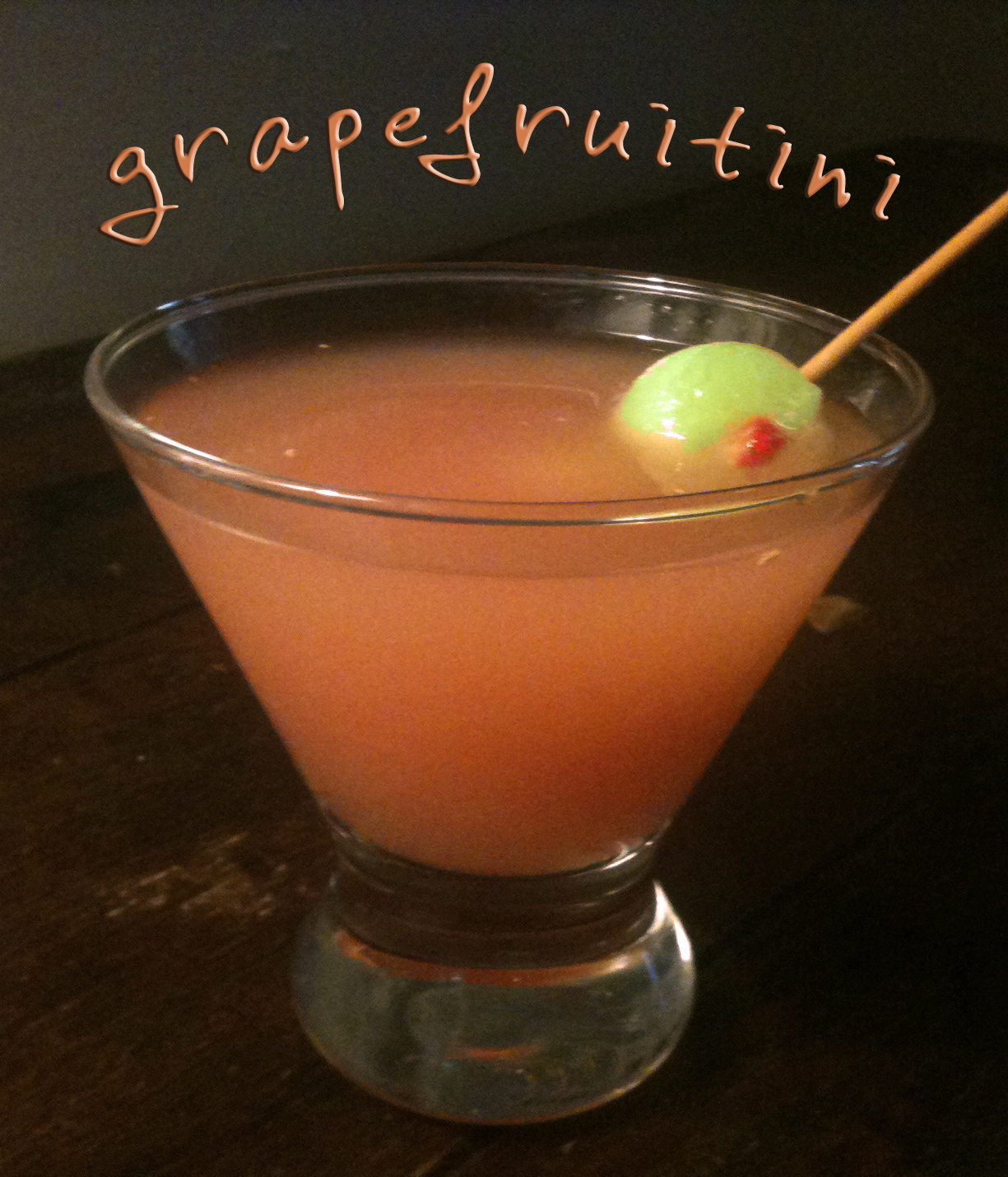 "Recipe : Grapefruitini with Honeydew Melon and Strawberry ""Olives"""