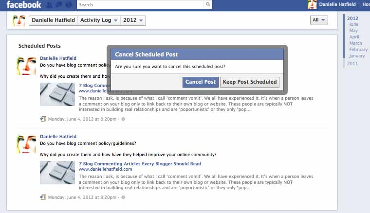 ho to cancel a facebook scheduled post
