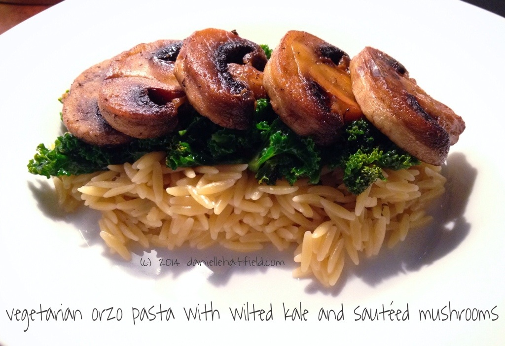 Recipe: Vegetarian Orzo Pasta with Wilted Kale and Sautéed Mushrooms
