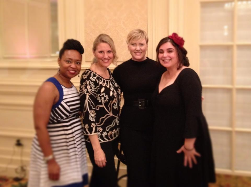 So grateful to have met local bloggers [L to R Demetrice Smith, Jen Van Eerden Schmidt, Me, Jennifer Alsina Busfield] It made #GoodwillRTR 2014 SO much fun!