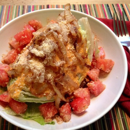 Recipe: Crispy Onion Wedge Salad with Creamy Roasted Heirloom Tomato Dressing