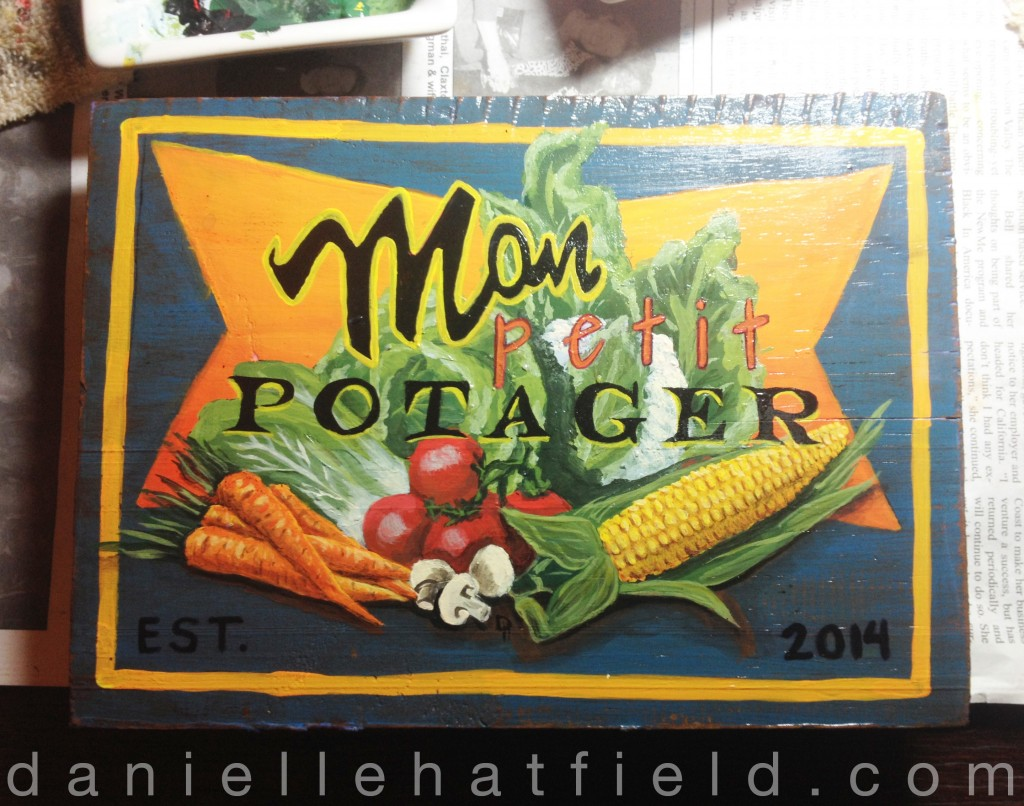 Mon Petit Potager Hand Painted Sign
