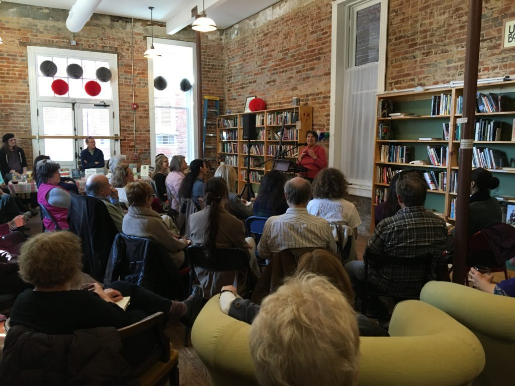 Author Natalie Goldberg reading at Scuppernong Books in Greensboro NC